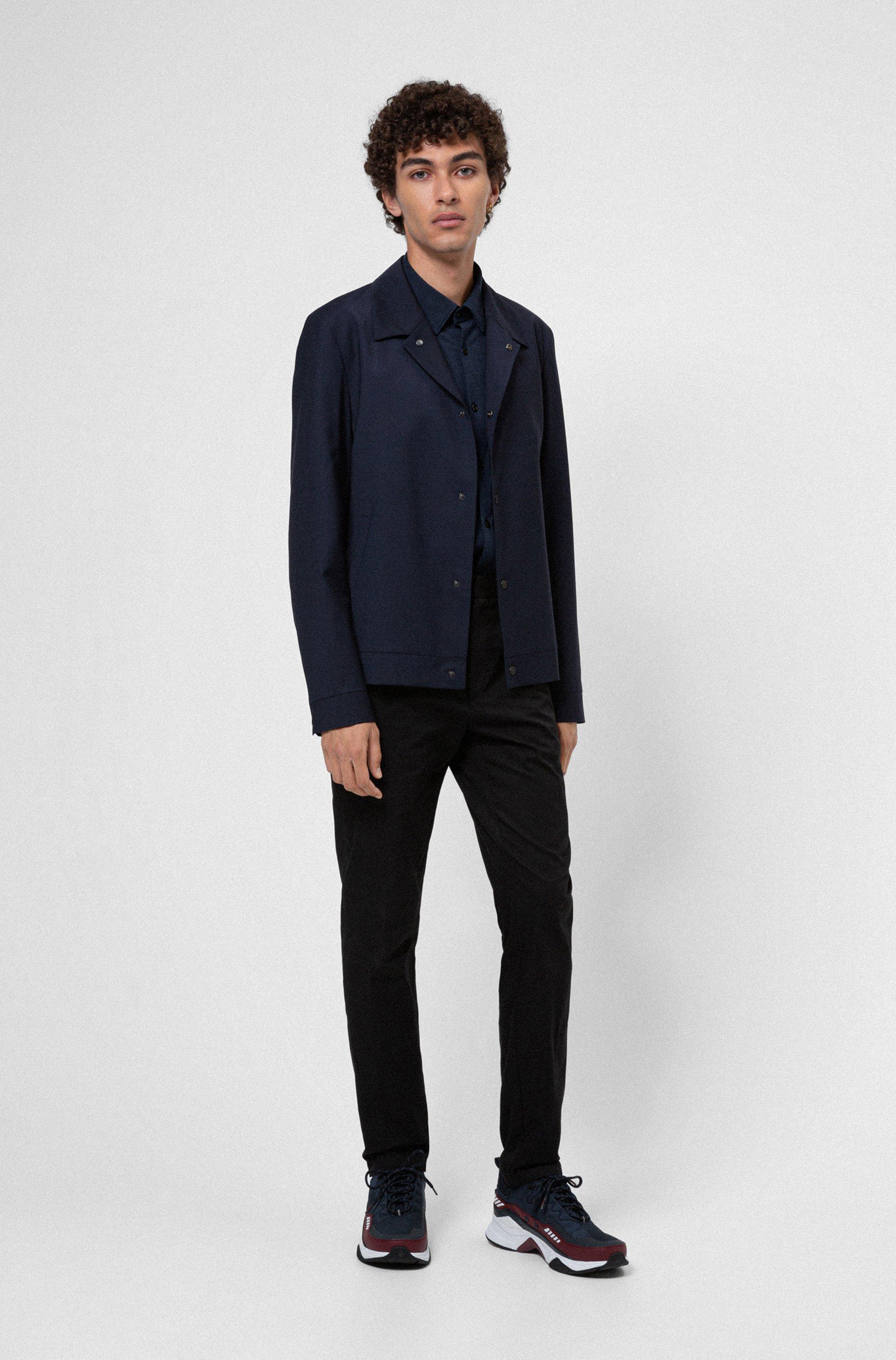 Wool-blend slim-fit jacket with press studs