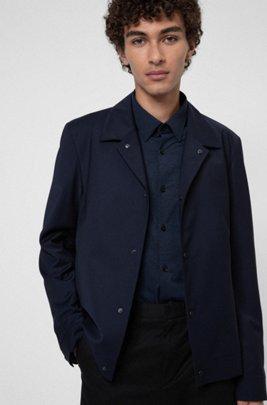 Wool-blend slim-fit jacket with press studs, Dark Blue