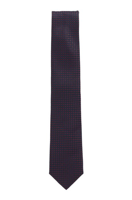 Patterned tie in water-repellent silk jacquard, Dark pink