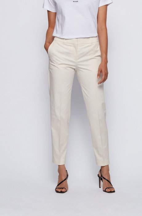 Relaxed-fit pants in stretch cotton with tapered leg, White