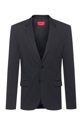 Packable slim-fit jacket with zipped pockets, Black