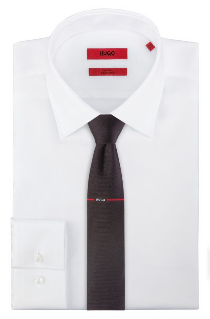 Silk-jacquard tie with red stripe logo