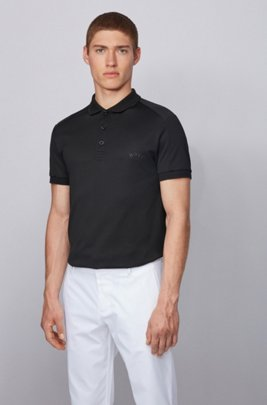 Slim-fit polo shirt with body-mapping and S.Café®, Black