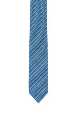 Silk-jacquard tie with graduated diagonal stripes, Light Blue