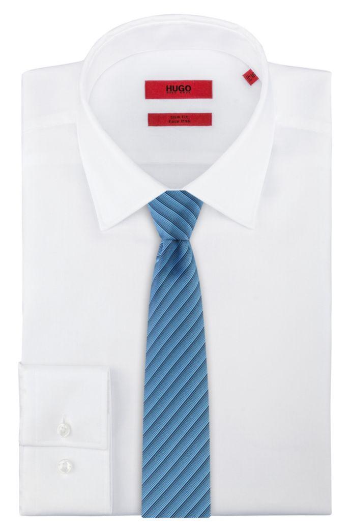Silk-jacquard tie with graduated diagonal stripes
