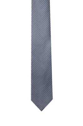 Silk-jacquard tie with micro-dot pattern, Light Grey