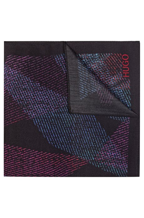 Geometric-print pocket square with logo detail, Black