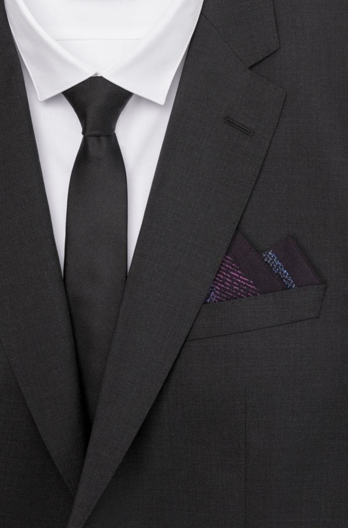 Geometric-print pocket square with logo detail