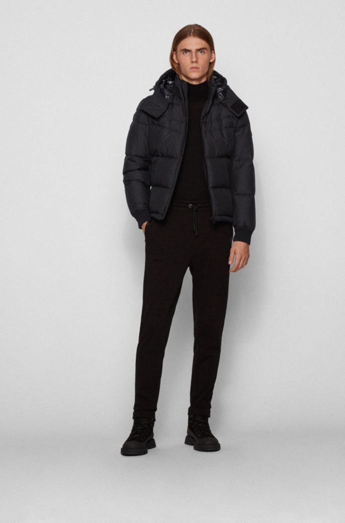 Water-repellent down jacket with removable hood