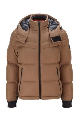 Water-repellent down jacket with removable hood, Khaki