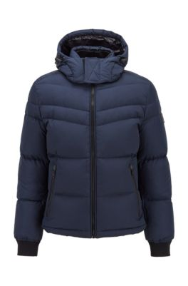 Water-repellent down jacket with removable hood, Dark Blue