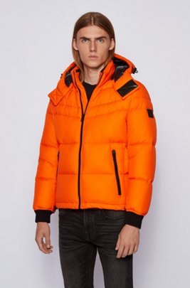Water-repellent down jacket with removable hood, Orange