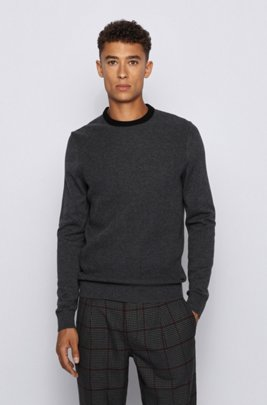 Structured-front sweater in cotton and wool, Grey