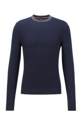 Structured-front sweater in cotton and wool, Dark Blue