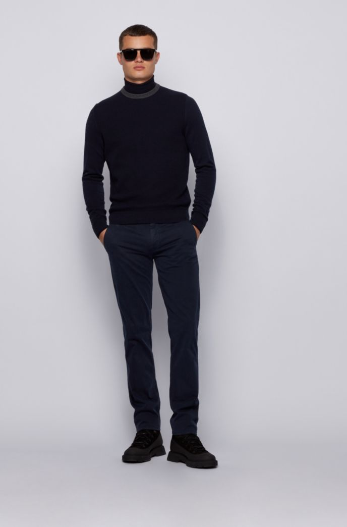 Structured-front sweater in cotton and wool