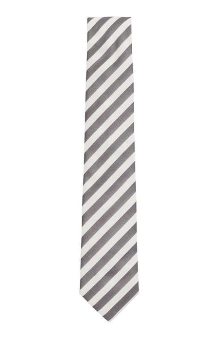 Block-stripe tie in silk jacquard, Grey