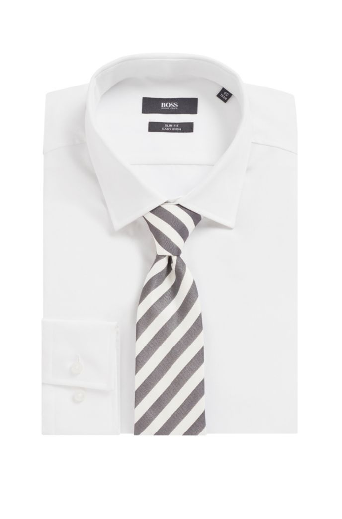 Block-stripe tie in silk jacquard