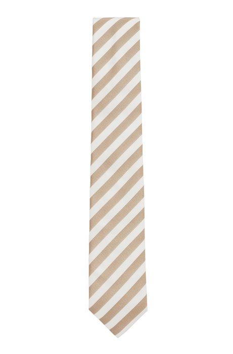 Block-stripe tie in silk jacquard, Light Beige
