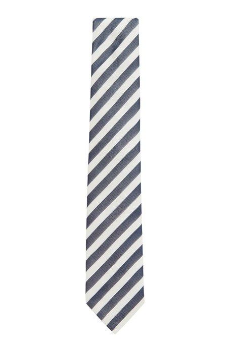 Block-stripe tie in silk jacquard, Open Blue
