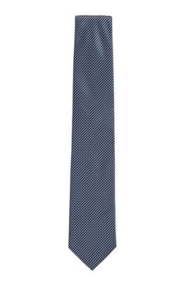 Micro-pattern tie in silk jacquard, Dark Blue