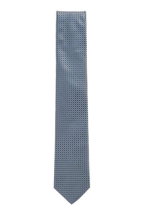 Micro-pattern tie in silk jacquard, Turquoise