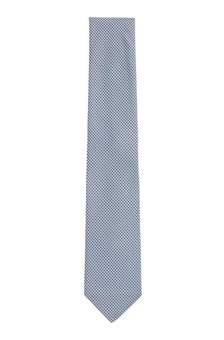 Italian-made tie in micro-patterned silk jacquard, Dark Blue