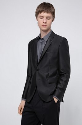 Extra-slim-fit jacket in a lustrous wool blend, Black