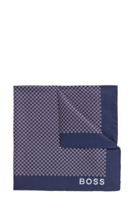 Italian-made silk pocket square with new-season print, Dark Blue
