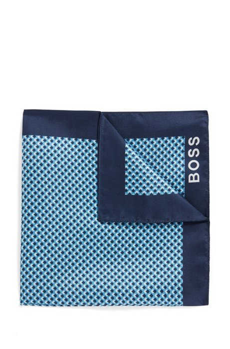 Italian-made silk pocket square with new-season print, Turquoise