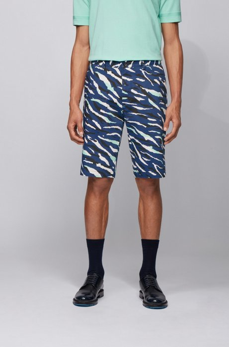Cotton-blend shorts with animal-patterned camouflage print, Dark Blue