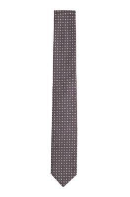 Patterned tie in silk jacquard, Grey