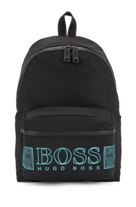 Logo backpack in structured nylon with laptop pocket, Black