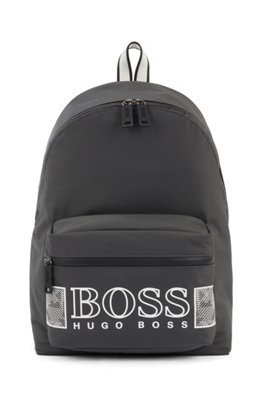Logo backpack in structured nylon with laptop pocket, Dark Grey