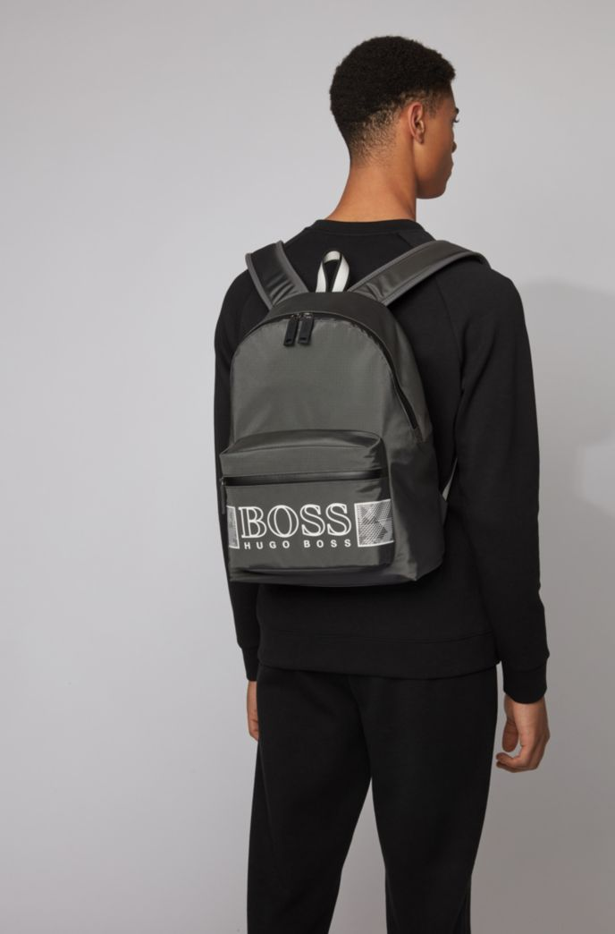 Logo backpack in structured nylon with laptop pocket
