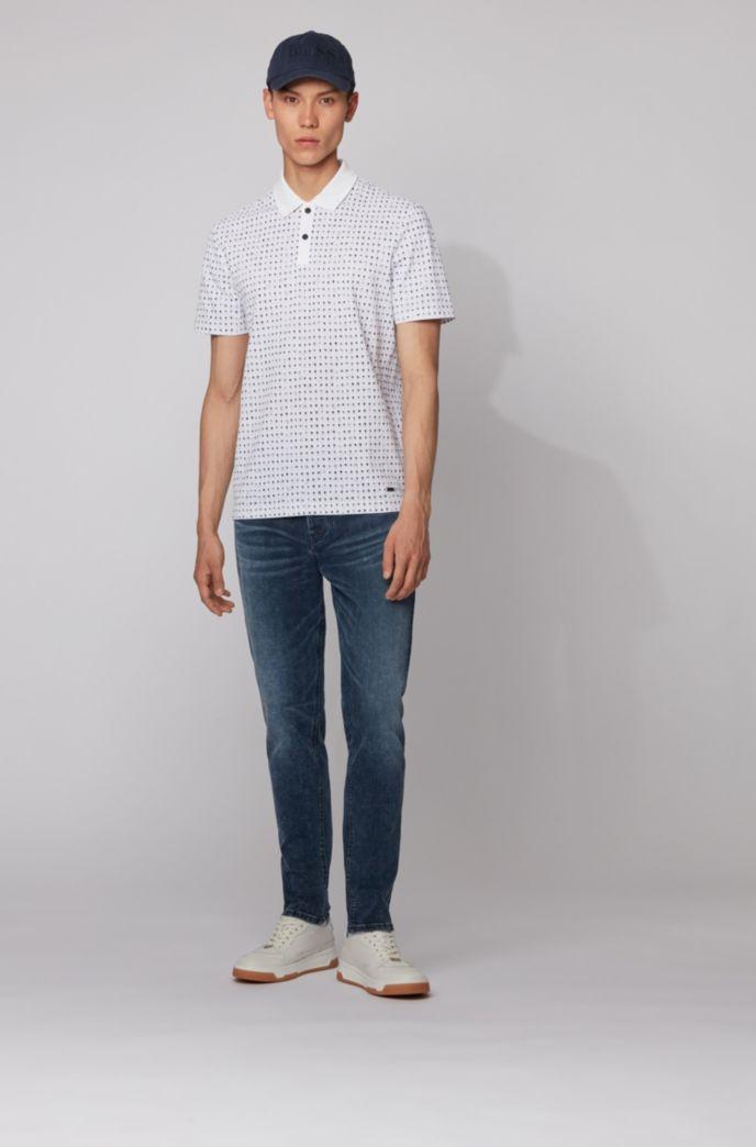 Cotton-piqué polo shirt with all-over print