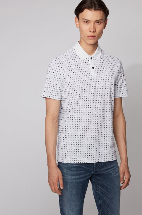 Cotton-piqué polo shirt with all-over print, White