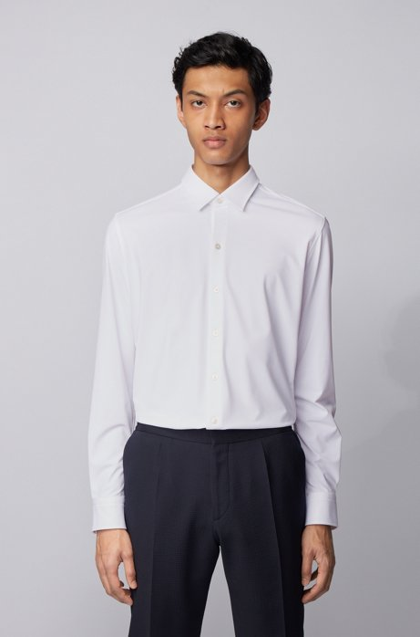 Regular-fit shirt in patterned stretch jersey, White