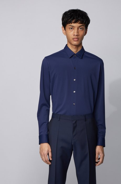 Regular-fit shirt in patterned stretch jersey, Dark Blue
