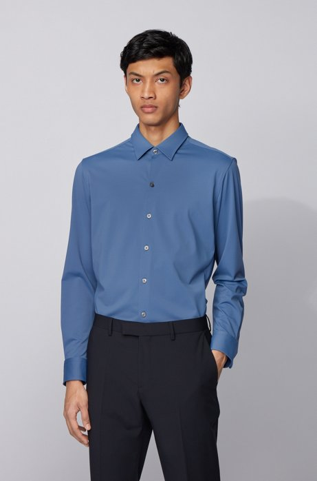 Regular-fit shirt in patterned stretch jersey, Light Blue