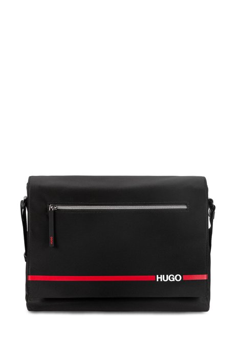 Structured-nylon messenger bag with contrast stripe and logo, Black