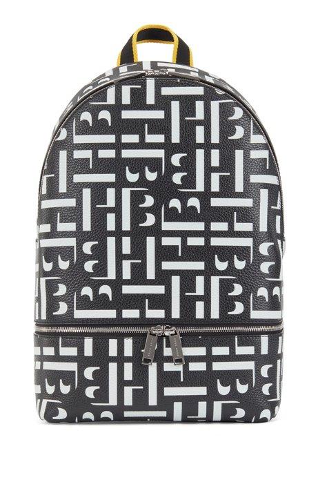 Monogram backpack in grained Italian leather, Black