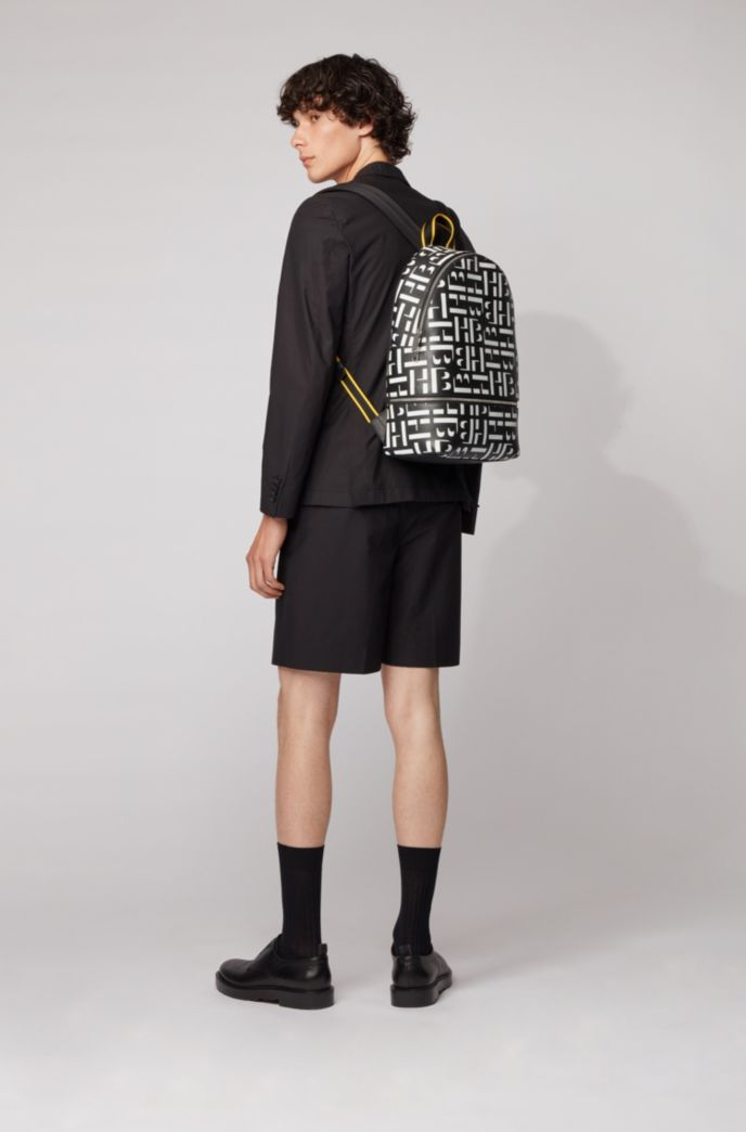 Monogram backpack in grained Italian leather