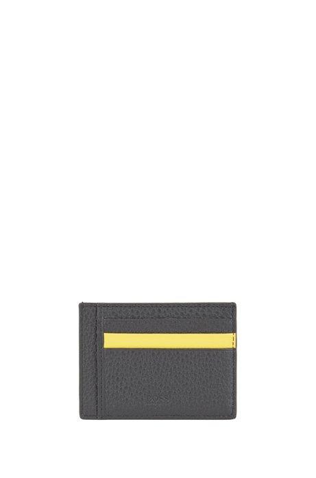 Monogram-print card holder in grained Italian leather, Black