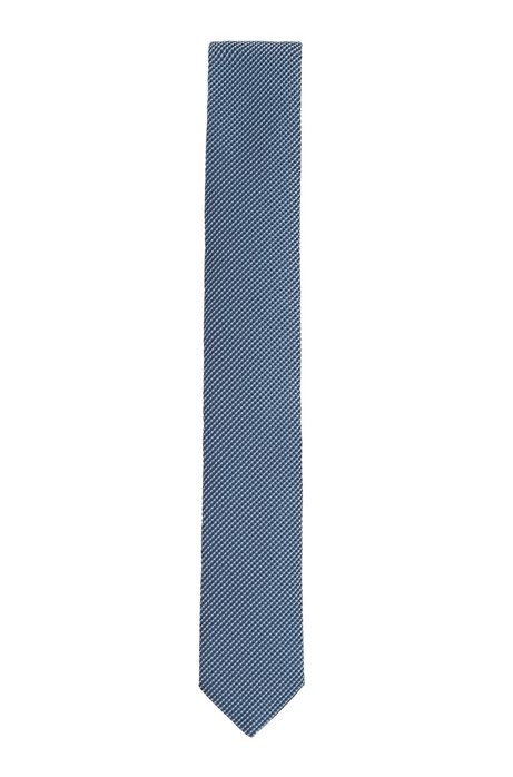 Italian-made micro-patterned tie in recycled fabric, Light Blue