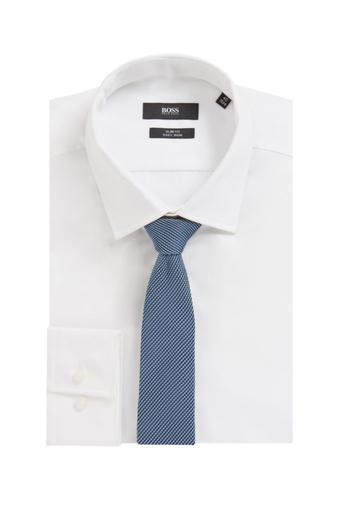 Italian-made micro-patterned tie in recycled fabric