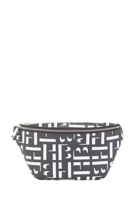 Monogram-print belt bag in grained Italian leather, Black