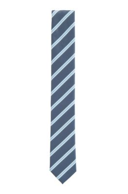 Italian-made striped tie in recycled fabric, Light Blue