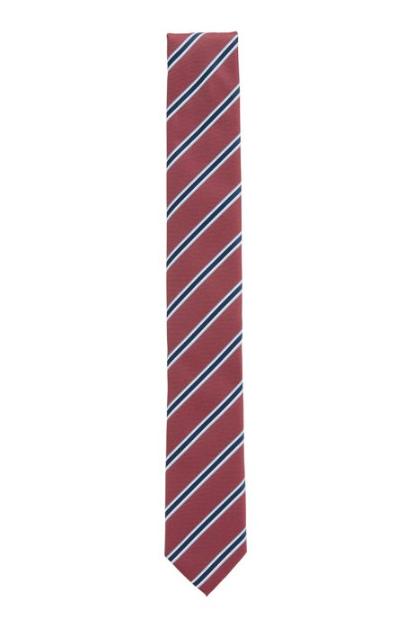 Italian-made striped tie in recycled fabric, Dark pink