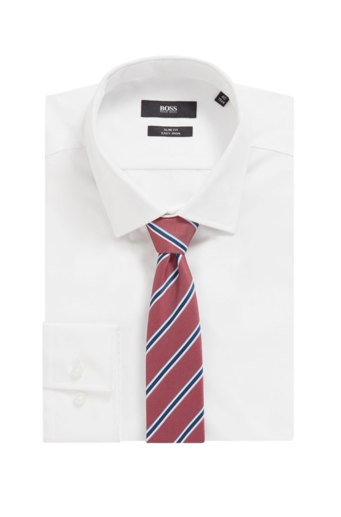 Italian-made striped tie in recycled fabric