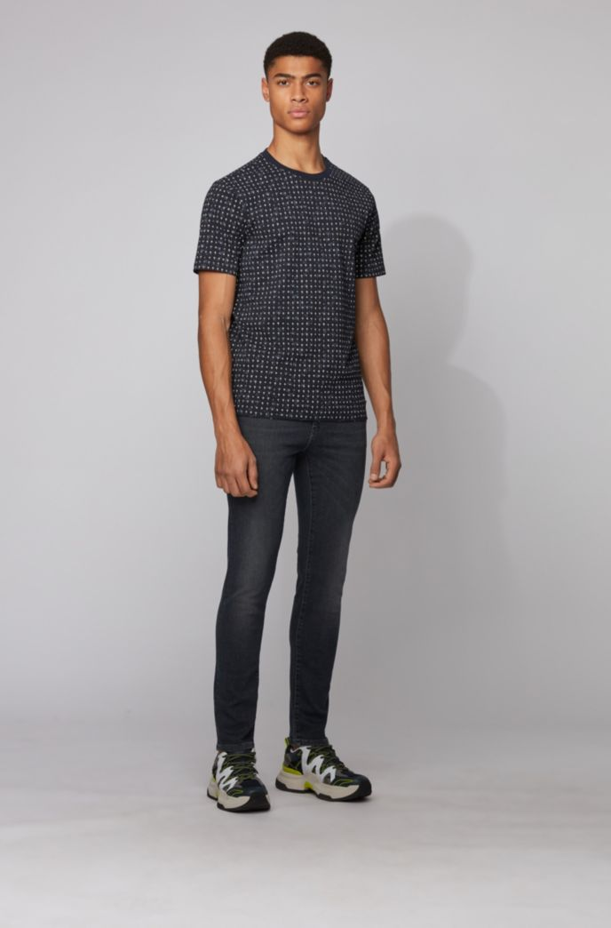 Cotton-piqué T-shirt with all-over print